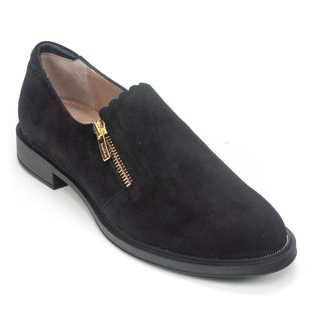 BeautiFeel Issey Women's Suede Zip Up Scalloped Cushioned Loafer Shoe