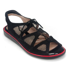 BeautiFeel Breeze Women's Leather Mesh Cutout Tie-Up Comfy Sandal Shoe