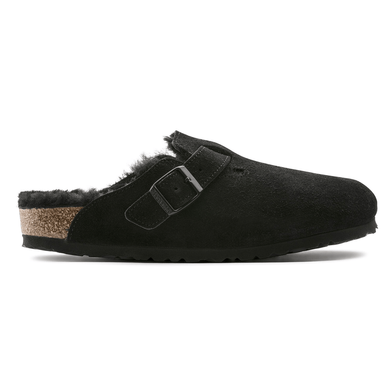 BIRKENSTOCK Boston Men's Suede Shearling Lined Clog Black | Simons Shoes