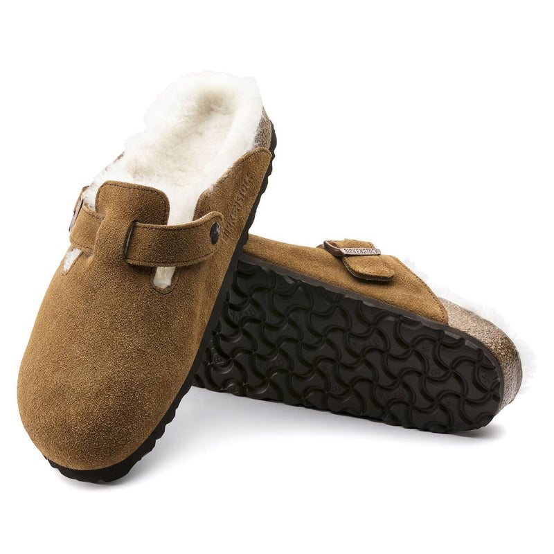 BIRKENSTOCK Boston Men's Suede Shearling Lined Clog Mink | Simons Shoes