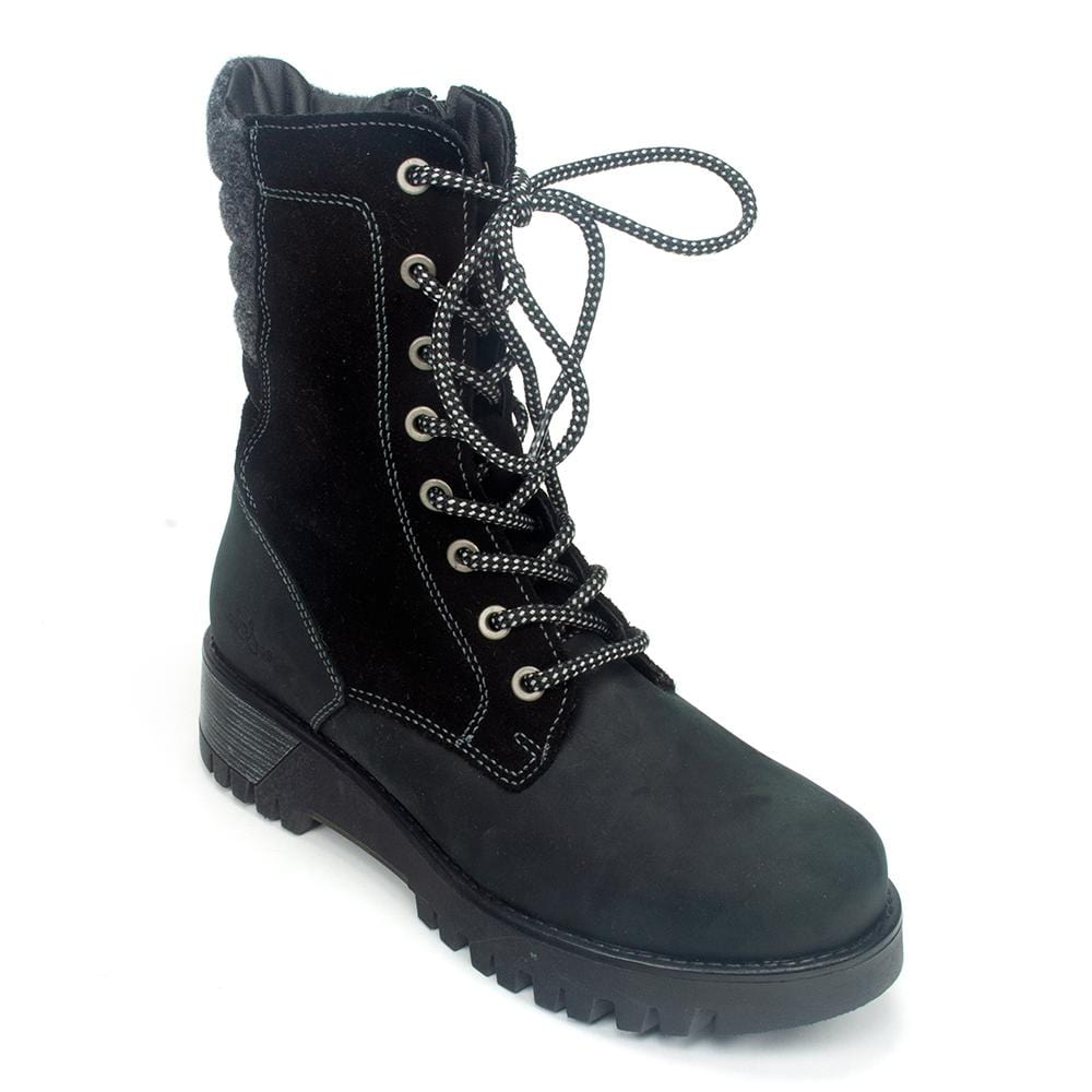 Bos & Co Guide Women's Waterproof Leather Wool Lined Combat Boot Shoe