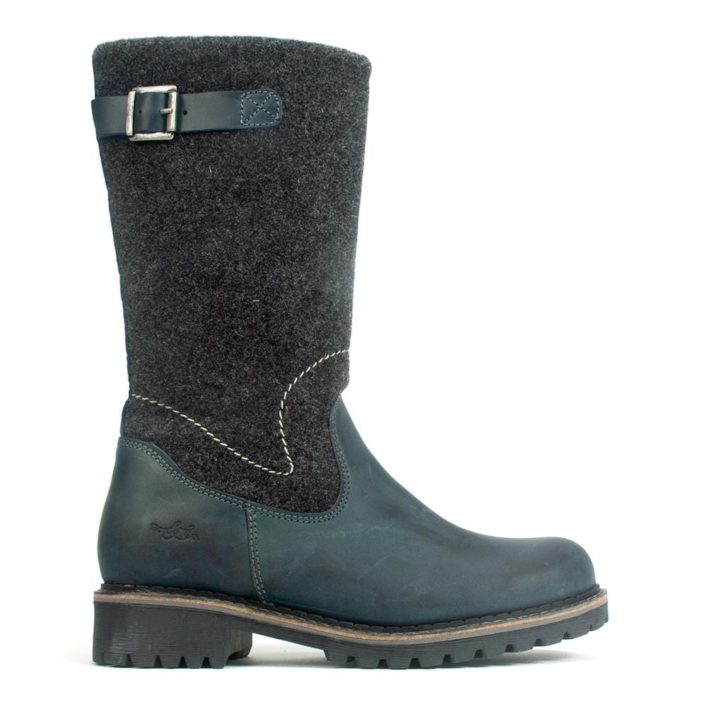 Bos & Co Hammond Mid Calf Leather Lined Waterproof Boot Navy | Simons Shoes