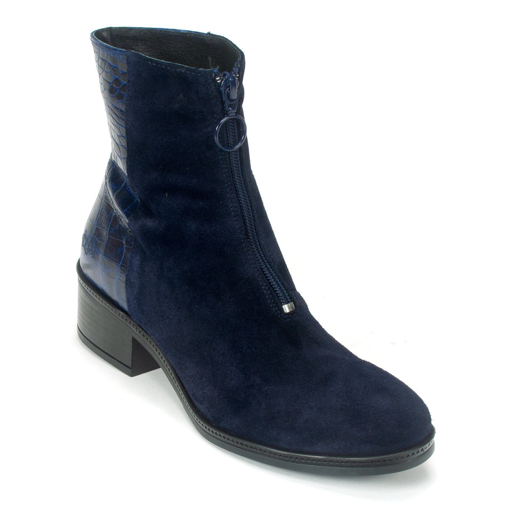Bos & Co Jordon Bootie Womens Navy Suede Block Heel | Simons Shoes