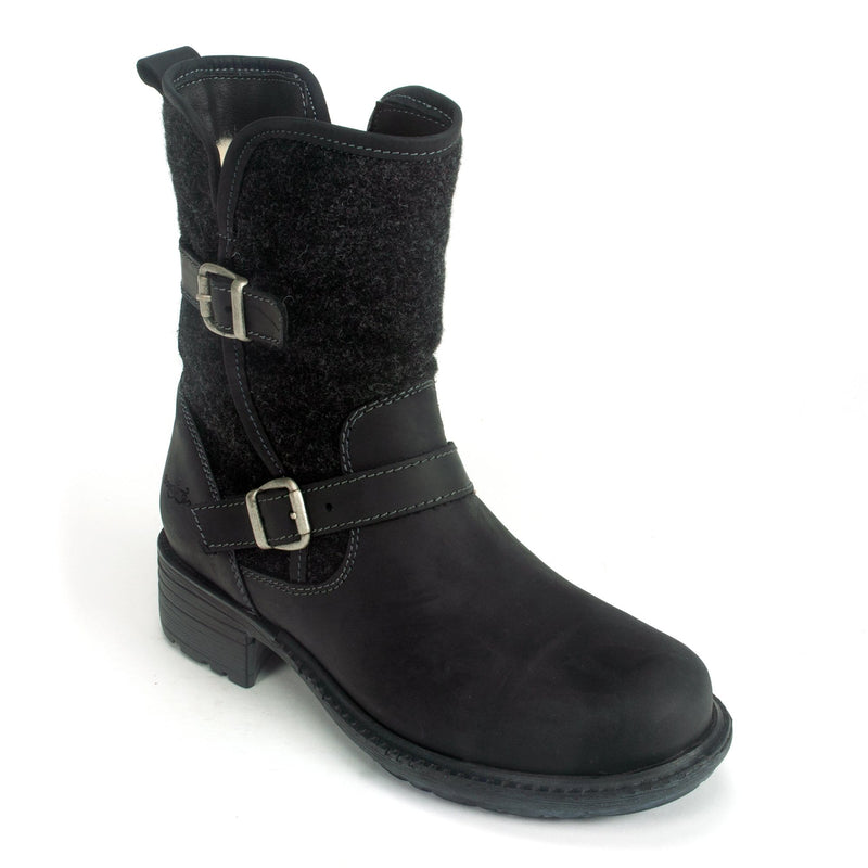 Bos & Co Saint Women's Wool Lined Leather Motorcycle Boot Black | Simons Shoes