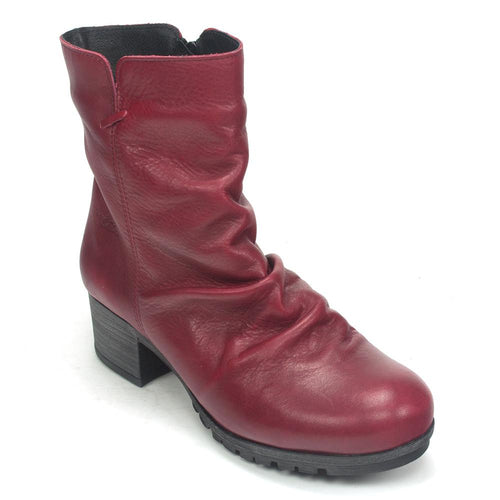 Bos & Co. Women's Madrid Ruched Leather Waterproof Zipper Boot Heel