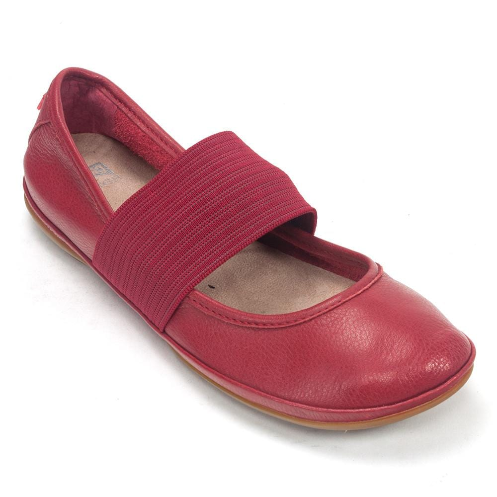 Camper Right (21595) Leather Ballerina Mary Jane Flat Red | Simons Shoes