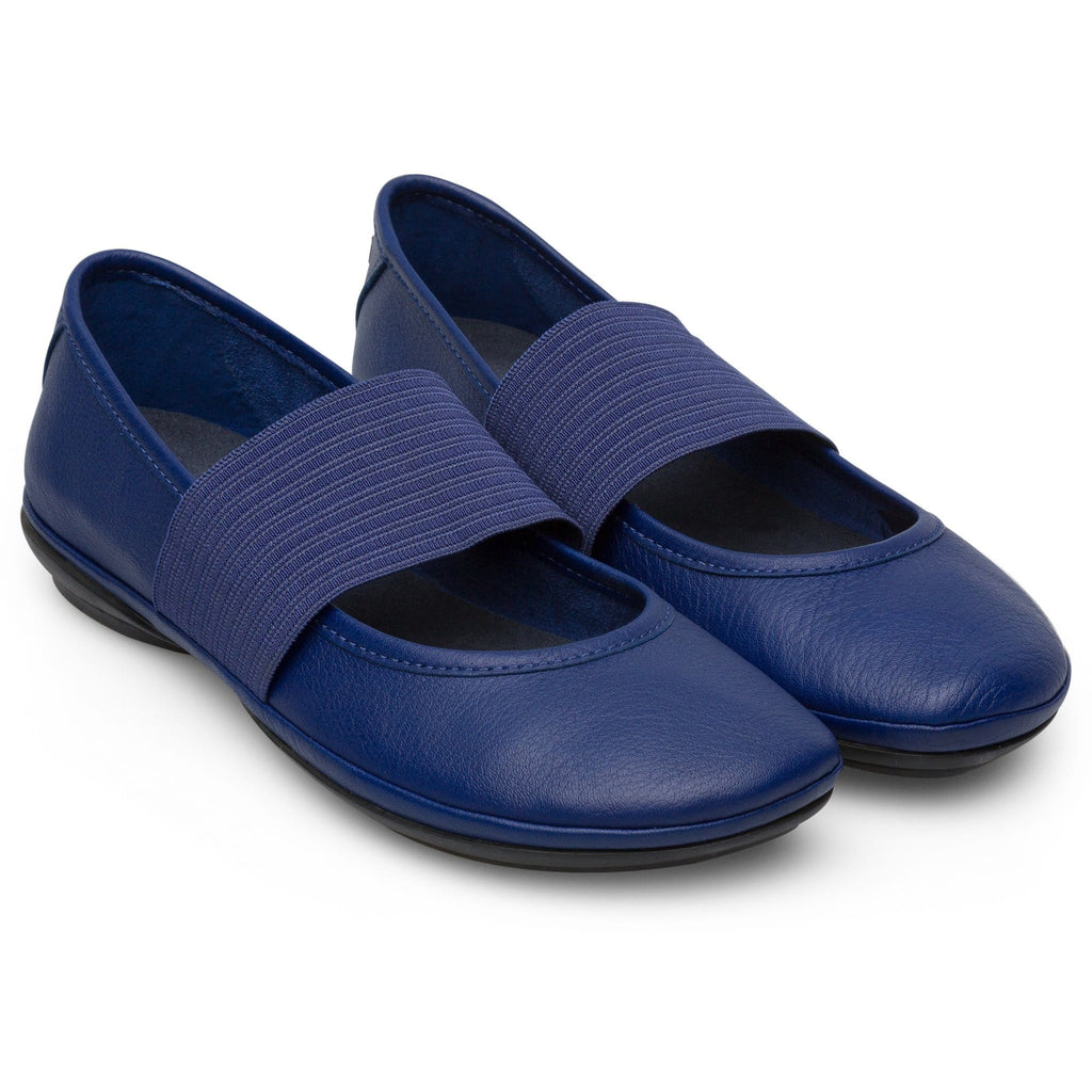 Camper Right (21595) Leather Ballerina Mary Jane Flat Blue| Simons Shoes
