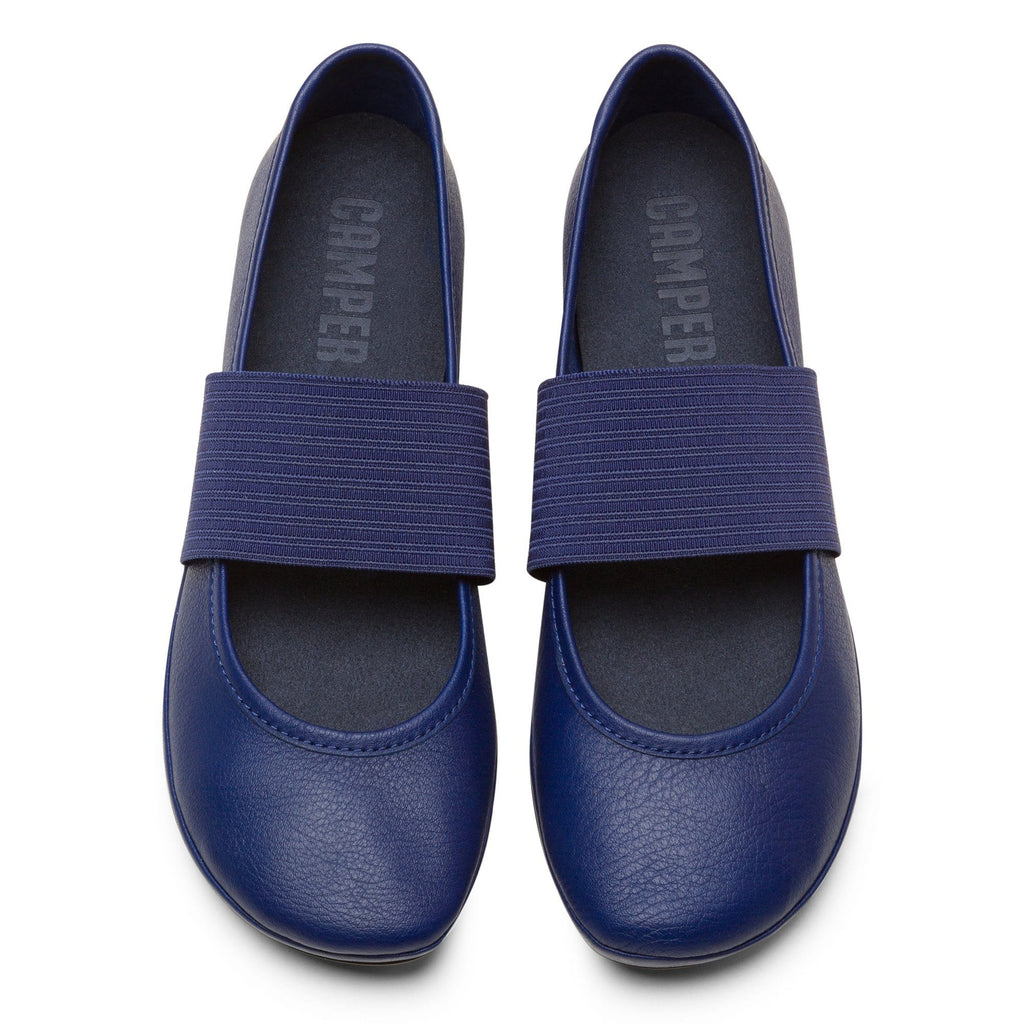 Camper Right (21595) Leather Ballerina Mary Jane Flat Blue | Simons Shoes