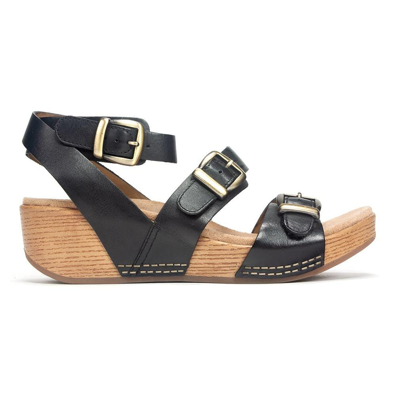 Dansko Lou Women's Leather Triple Buckle Strap Wedge Sandal Comfy Shoe