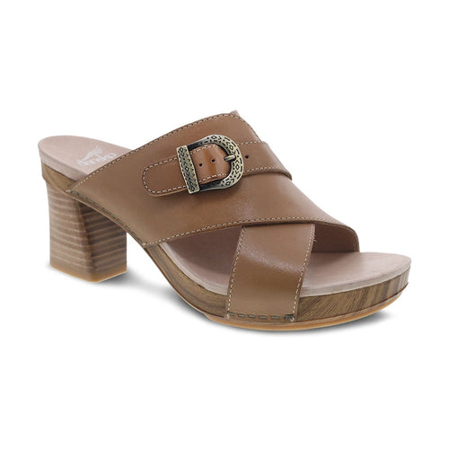 Dansko Amy Women's Leather Crisscross Slide Cushioned Sandal Heel Shoe
