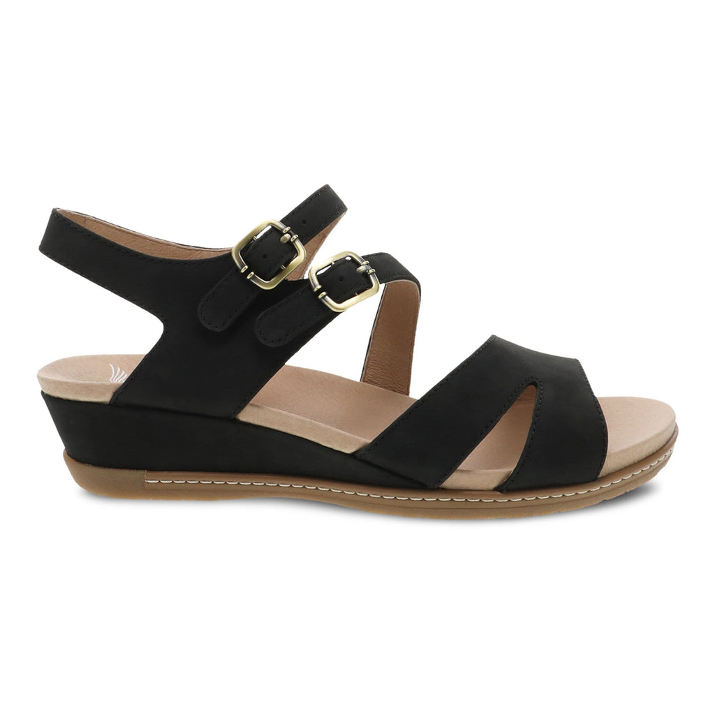 Dansko Angela Women's Adjustable Leather Wedge Sandal Black | Simons Shoes