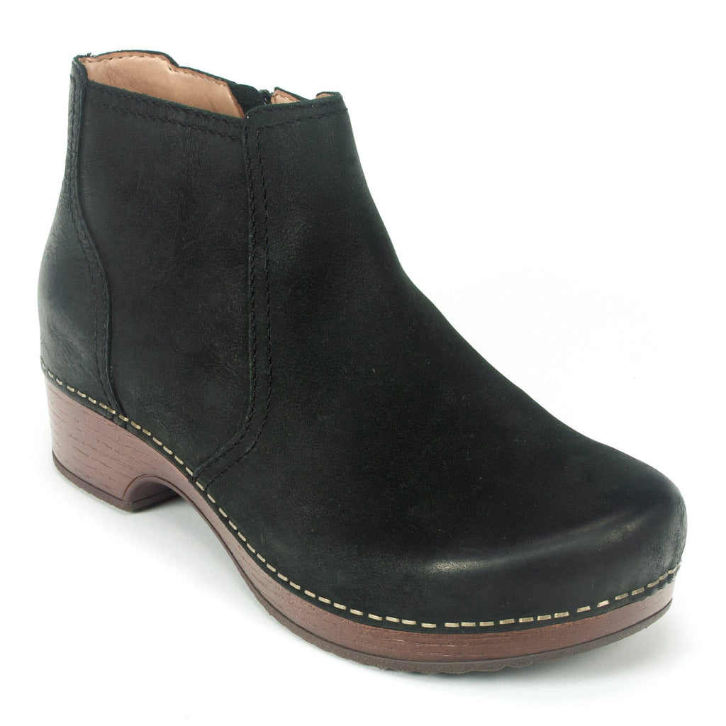 Dansko Barbara Women's Leather Clog Sole Ankle Bootie Black | Simons Shoes