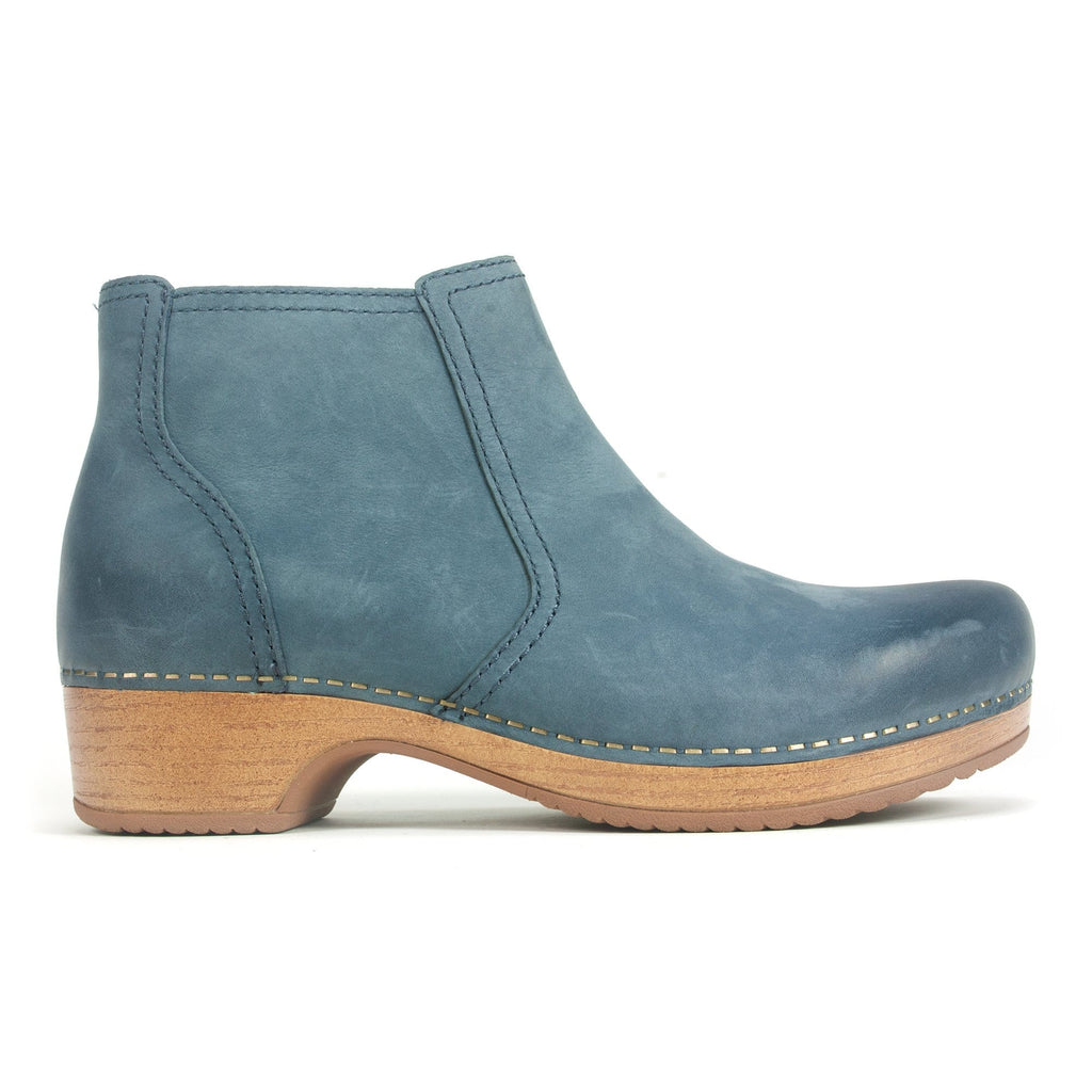 Dansko Barbara Women's Leather Clog Sole Ankle Bootie Denim | Simons Shoes
