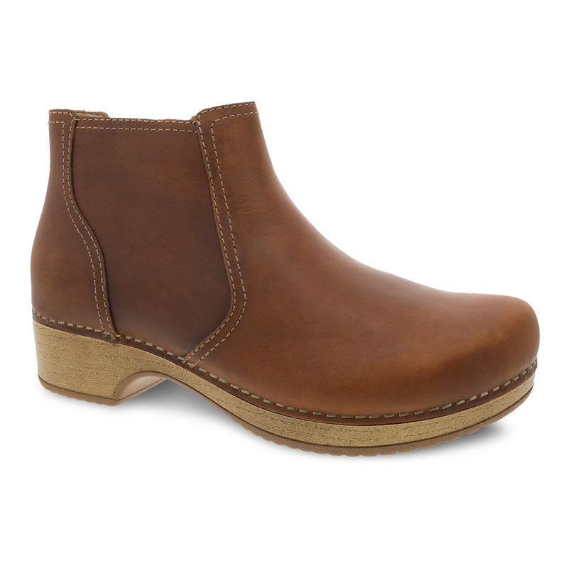 Dansko Barbara Women's Leather Clog Sole Ankle Bootie Tan | Simons Shoes