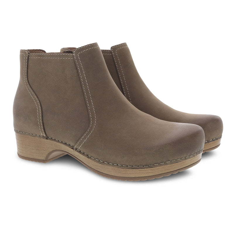 Dansko Barbara Women's Leather Clog Sole Ankle Bootie Taupe | Simons Shoes