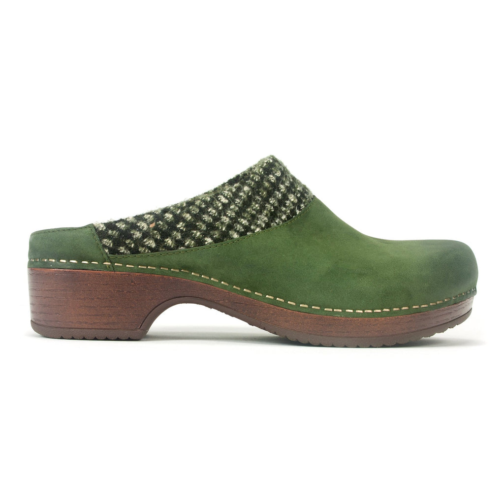 Dansko Bev Womens Woven Mule Lichen I Scotchgarded Nubuck Slip On