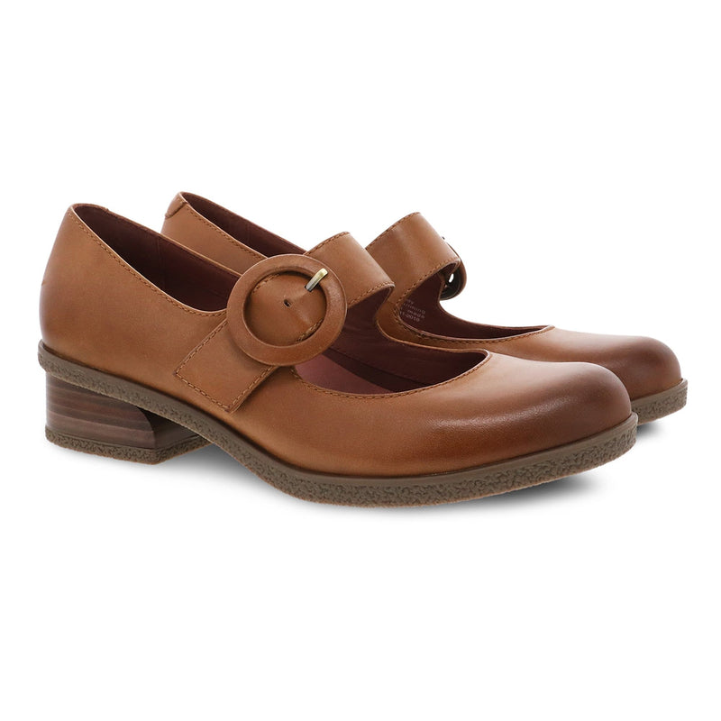 Dansko Brandy Womens Leather Low Heel Comfort Mary Jane Luggage | Simons Shoes
