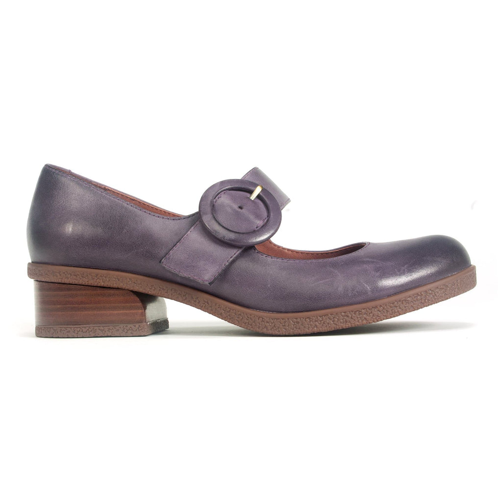Dansko Womens Brandy Leather Low Heel Comfort Mary Jane Plum | Simons Shoes