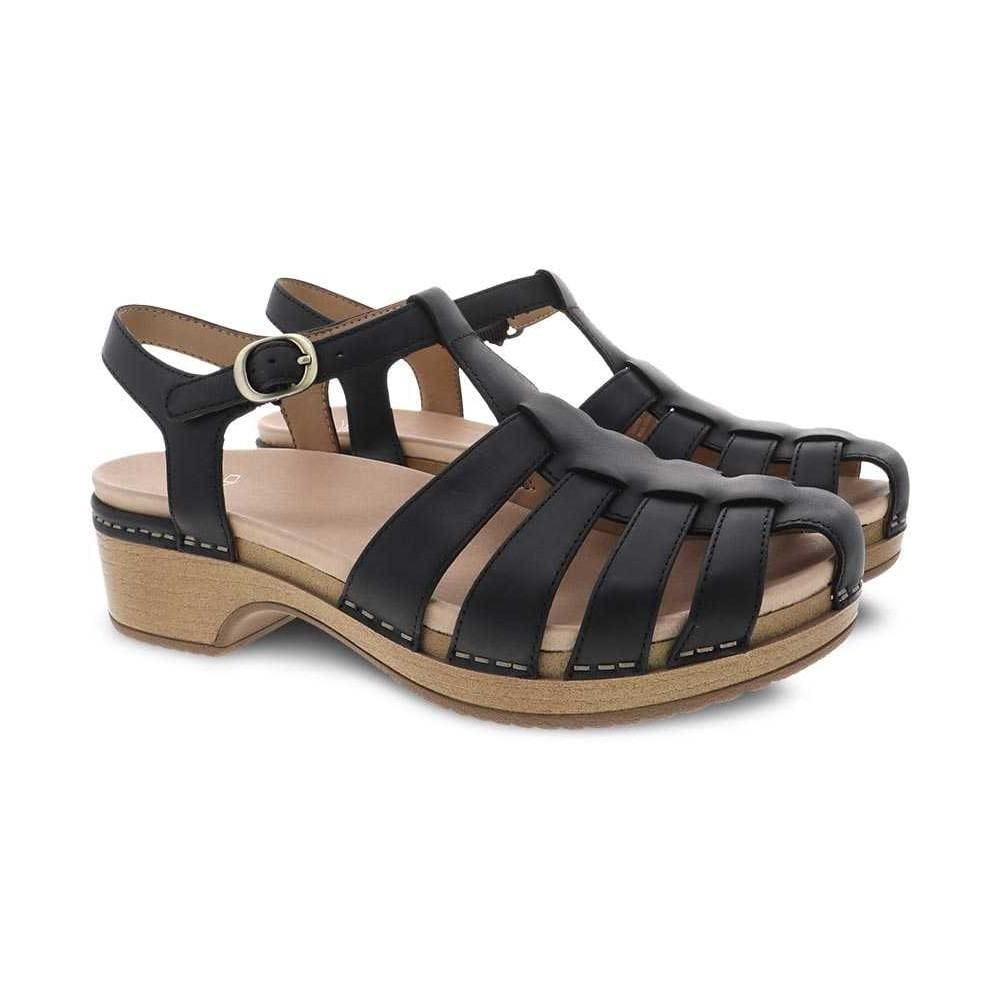 Brie Leather Memory Foam Odor Control Cage Front Open Back Sandal | Simons