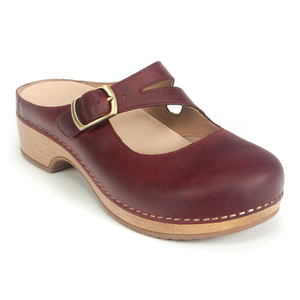 Dansko Britney Mary Jane Leather Mule Clog Red Oiled | Simons Shoes