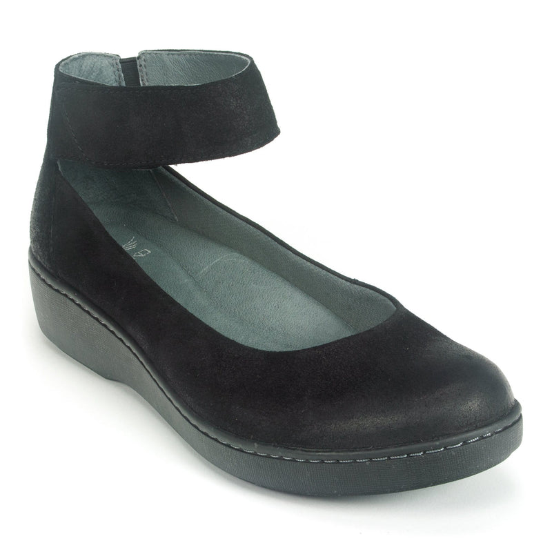 Dansko Emmie Casual Women's Suede Wedge Slip-On Black | Simons Shoes