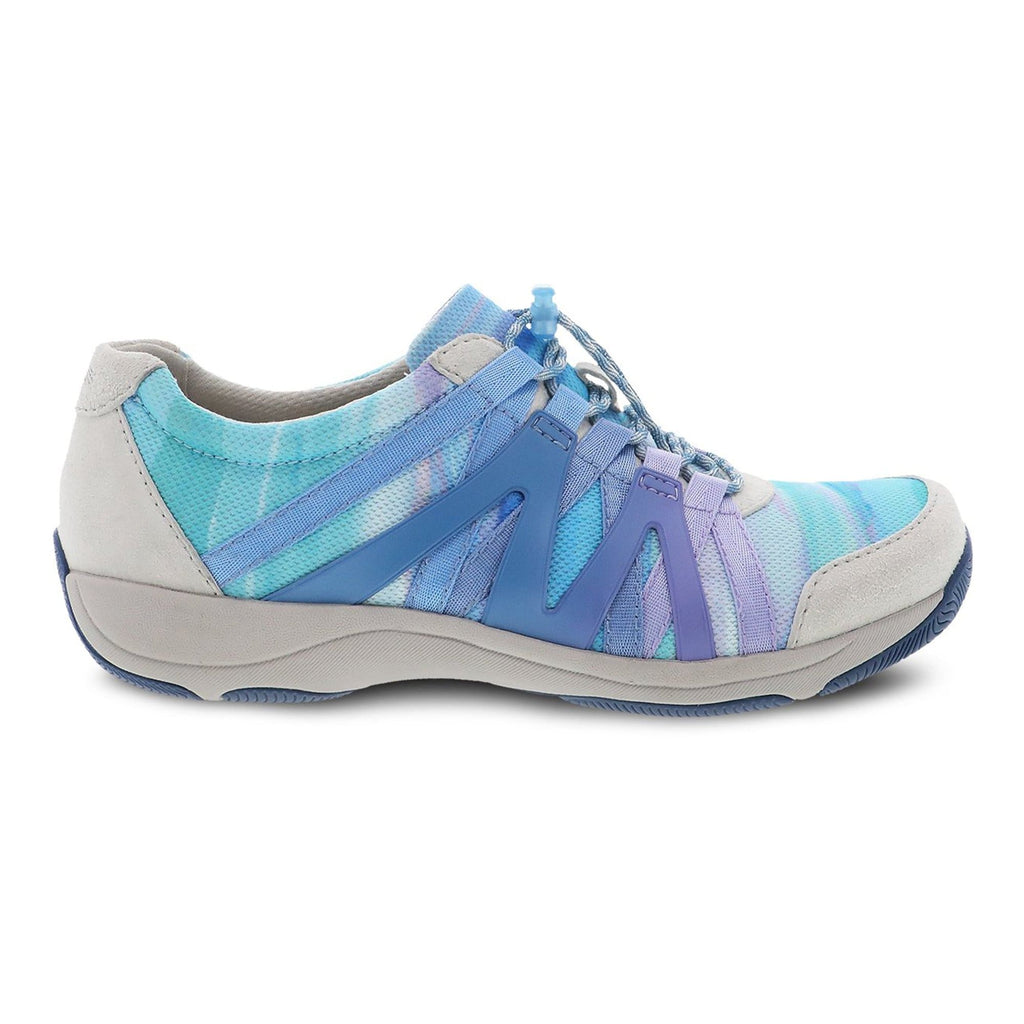Dansko Henriette Leather Mesh Sneaker for Women Blue Multi | Memory Foam Slip On