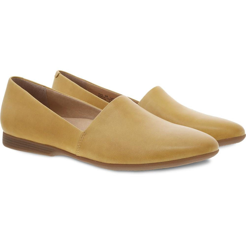 Dansko Larisa Womens Leather Slip On Pointed Toe Flat Yellow | Simons Shoes