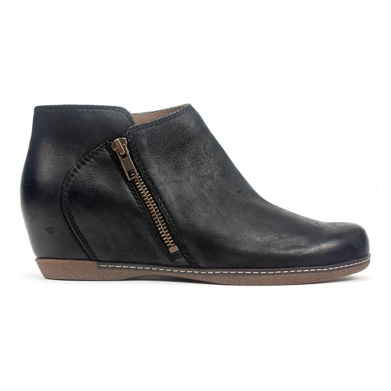 Dansko Leyla | Women's Leather Hidden Wedge Ankle Zip Bootie | Simons