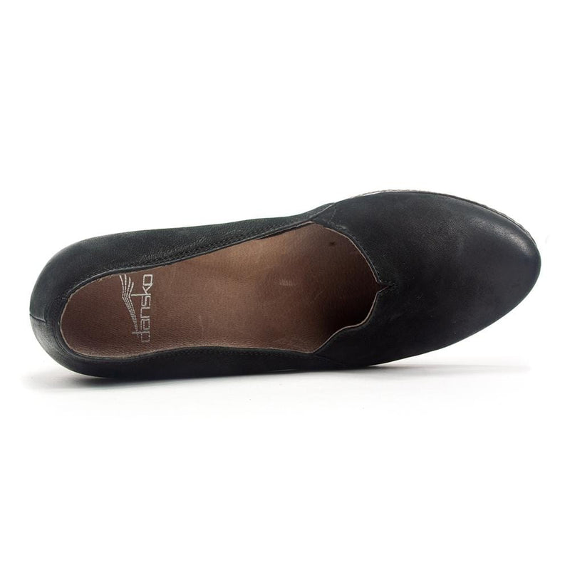 Dansko Liliana Women's Leather Slip On Hidden Low Wedge Loafer Shoe