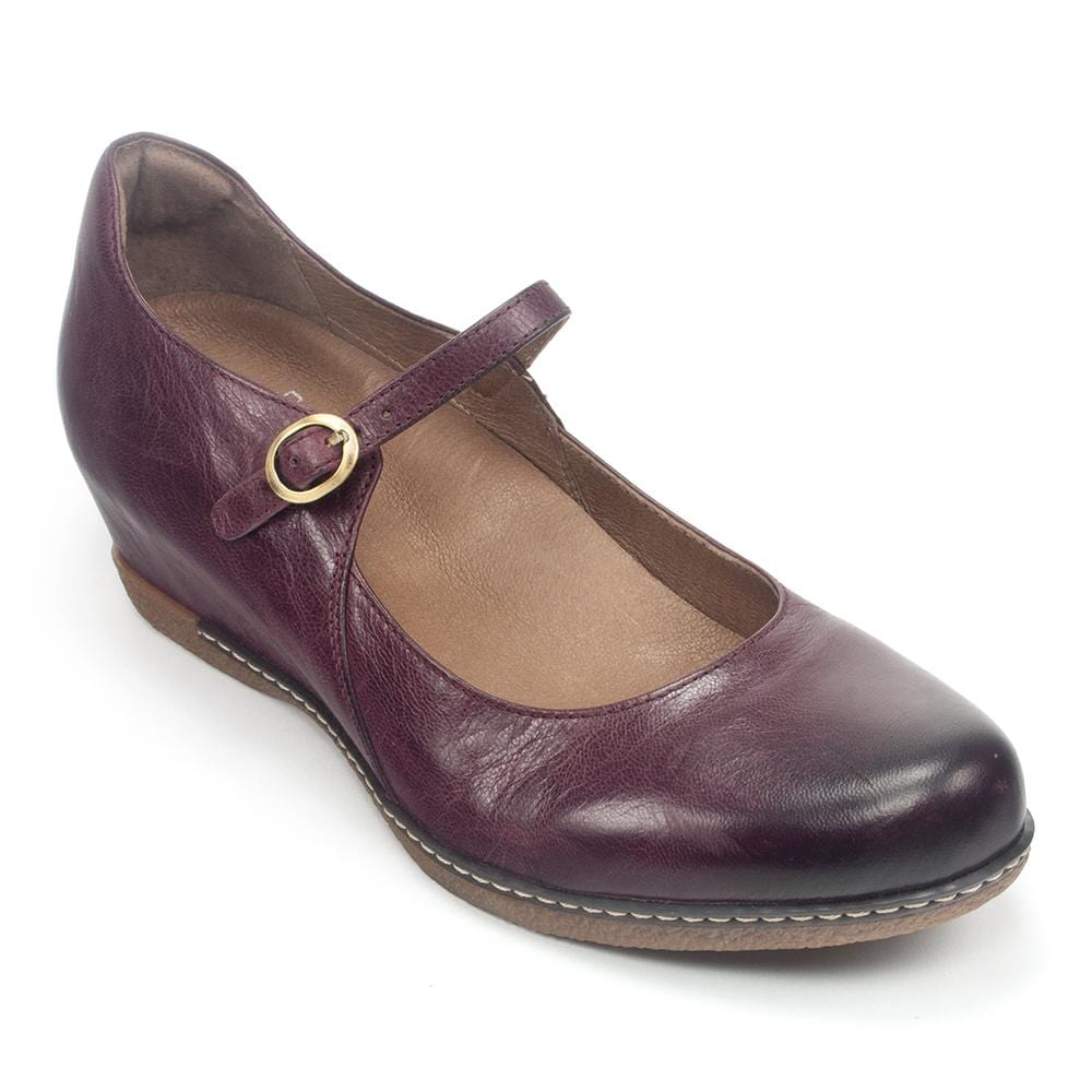 Dansko Loralie Women's Leather Hidden Low Wedge Mary Jane Shoe