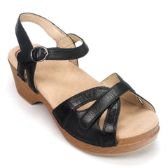 Dansko Season Women's Leather Vintage Quarter Ankle Strap Sandal Shoe