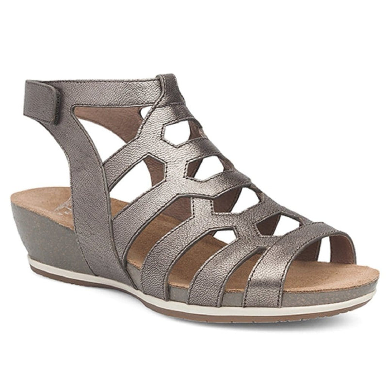 Dansko Valentina Women's Leather Geometric Strappy Wedge Sandal Shoe