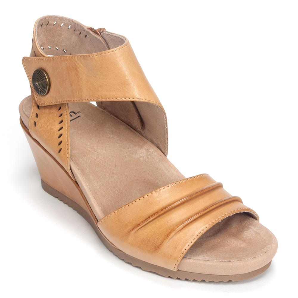 Earth Brands Women's Barbados Covered Heel Open Toe Wedge Sandal Shoe