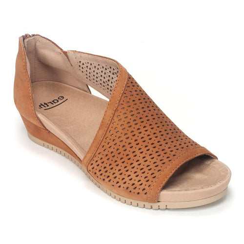 Earth Capricorn Low Wedge Sandal - Perforated Suede Sandal - Simons Shoes