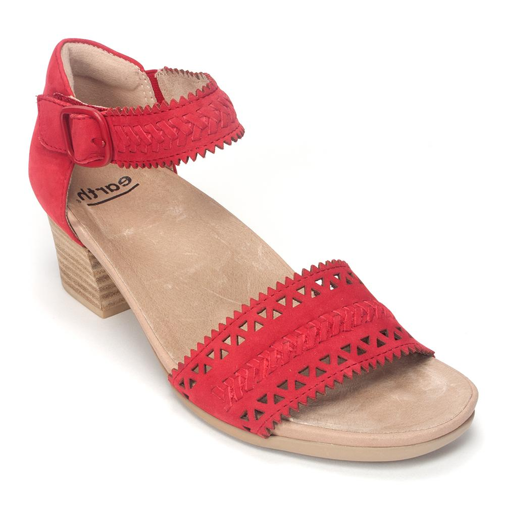 Earth Brand Women's Seneca Perforated Suede Strappy Stacked Heel Shoe