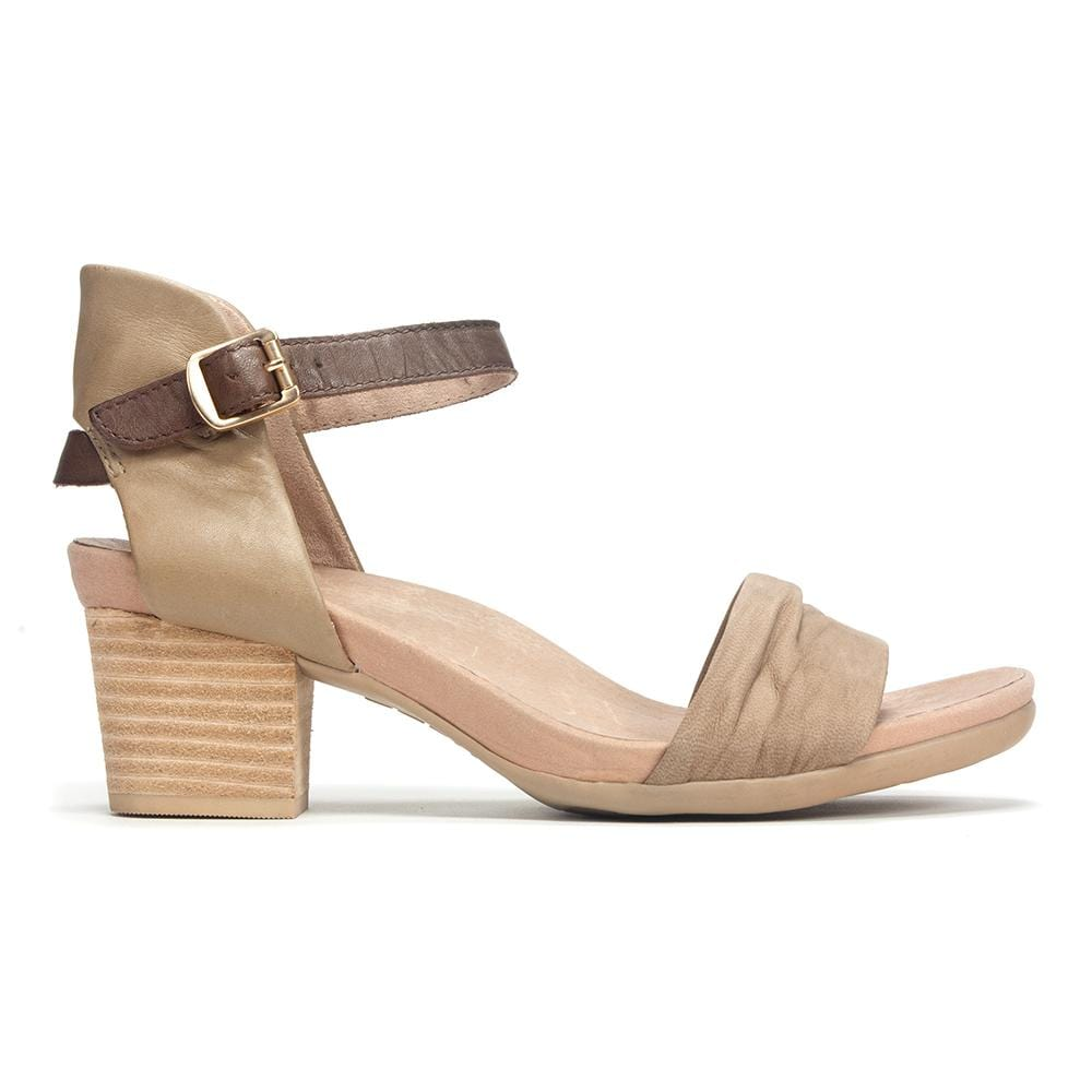 Earth Brand Women's Symphony Leather Ruched Toe Strappy Heeled Sandal