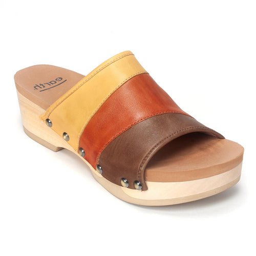 Earth Brands Tiga MultiColor Leather Low-Wedge Slide Sandal Shoe