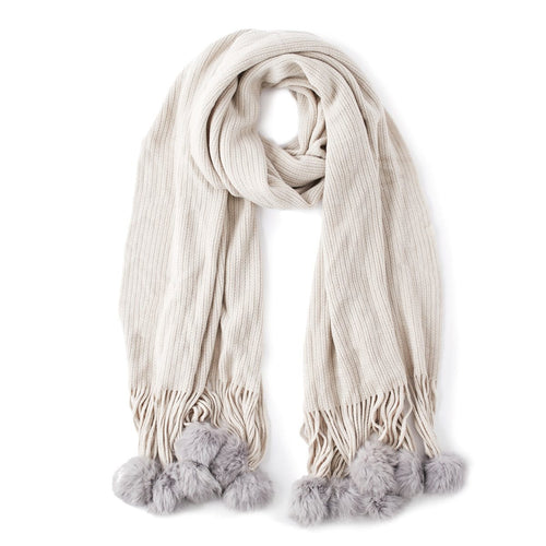 Echo Designs 905282 Large Ribbed Muffler with Rabbit Fur Pom Poms