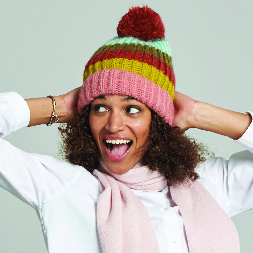 Echo Design Rainbow Striped Pom Hat (ECO292) | Simons Shoes