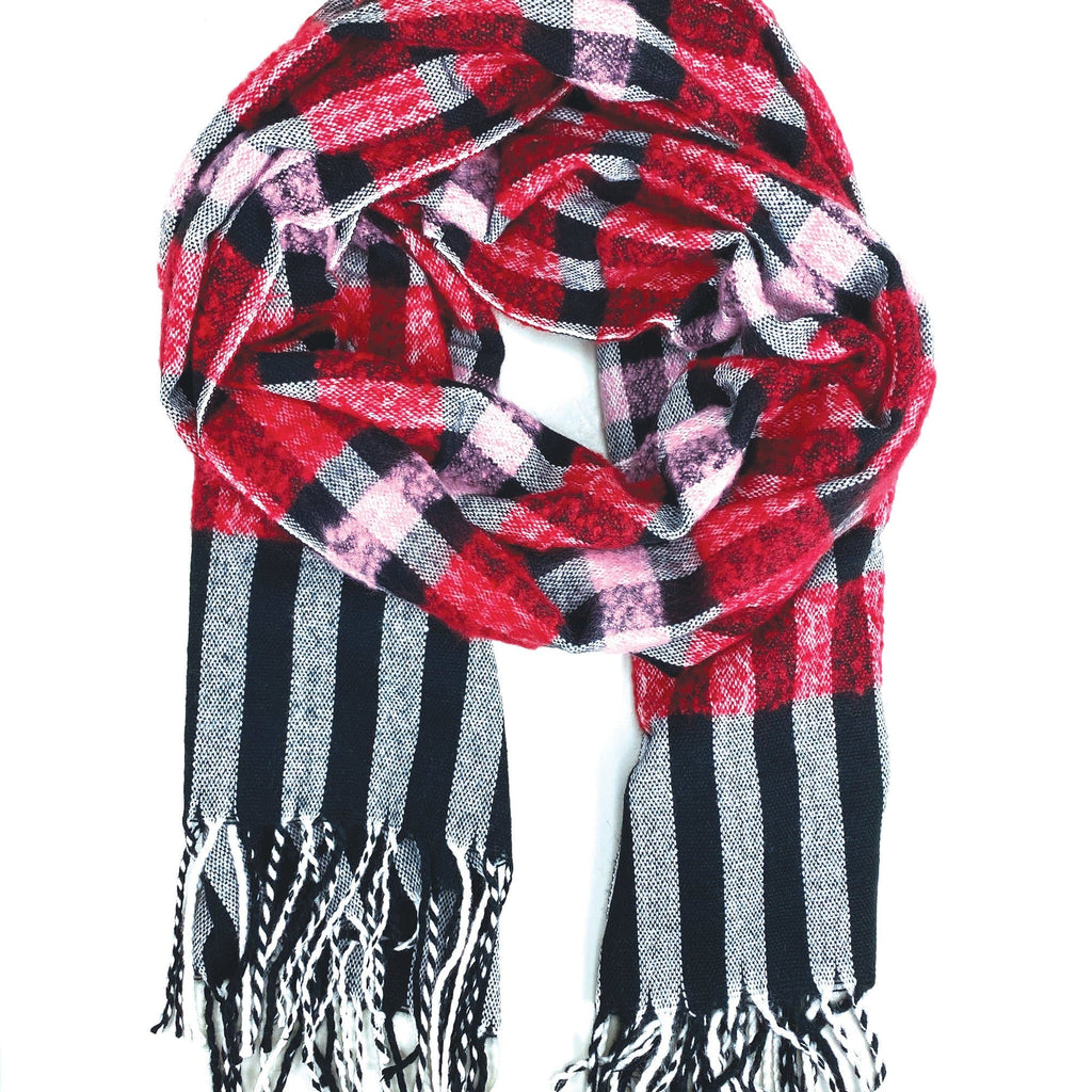Red Pink Plaid Scarf (ECO487)