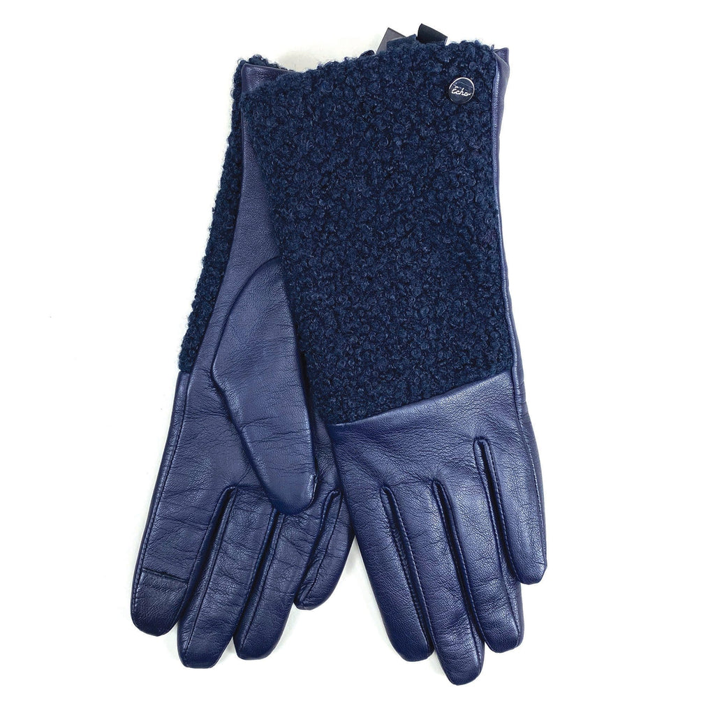 Echo Design Faux Shearling Navy Leather Gloves (EGO164S)| Simons Shoes
