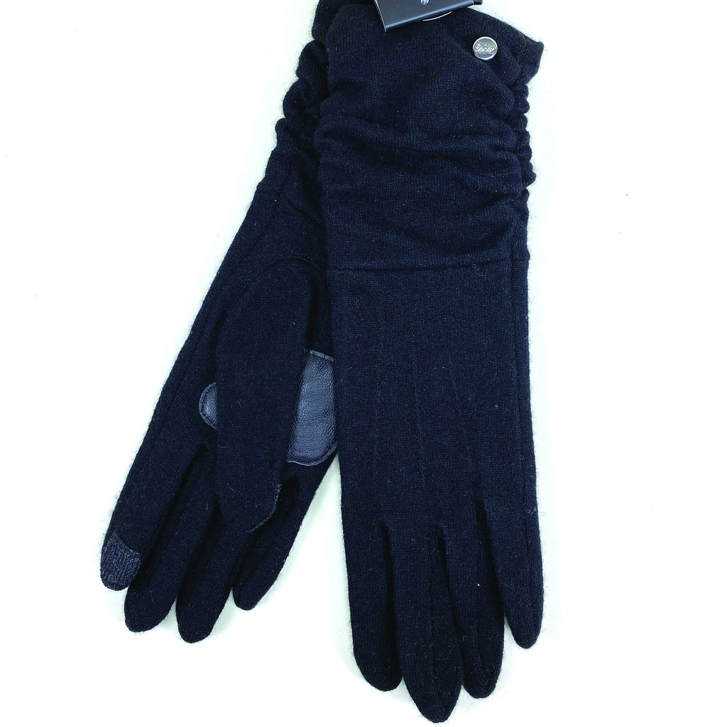 Echo Design Ruched Cuff Touch Black Wool Gloves (EGO187) | Simons Shoes