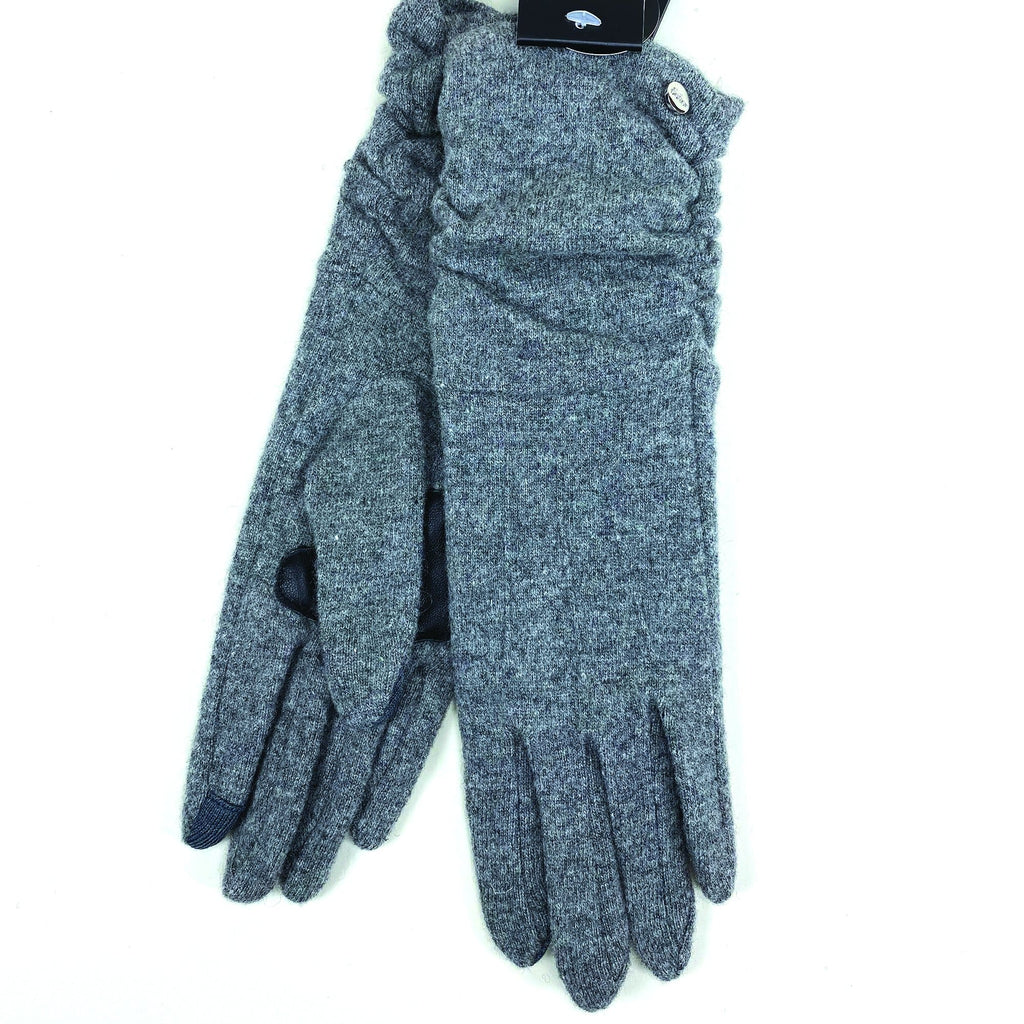 Echo Design Ruched Cuff Touch Grey Wool Gloves (EGO187) | Simons Shoes