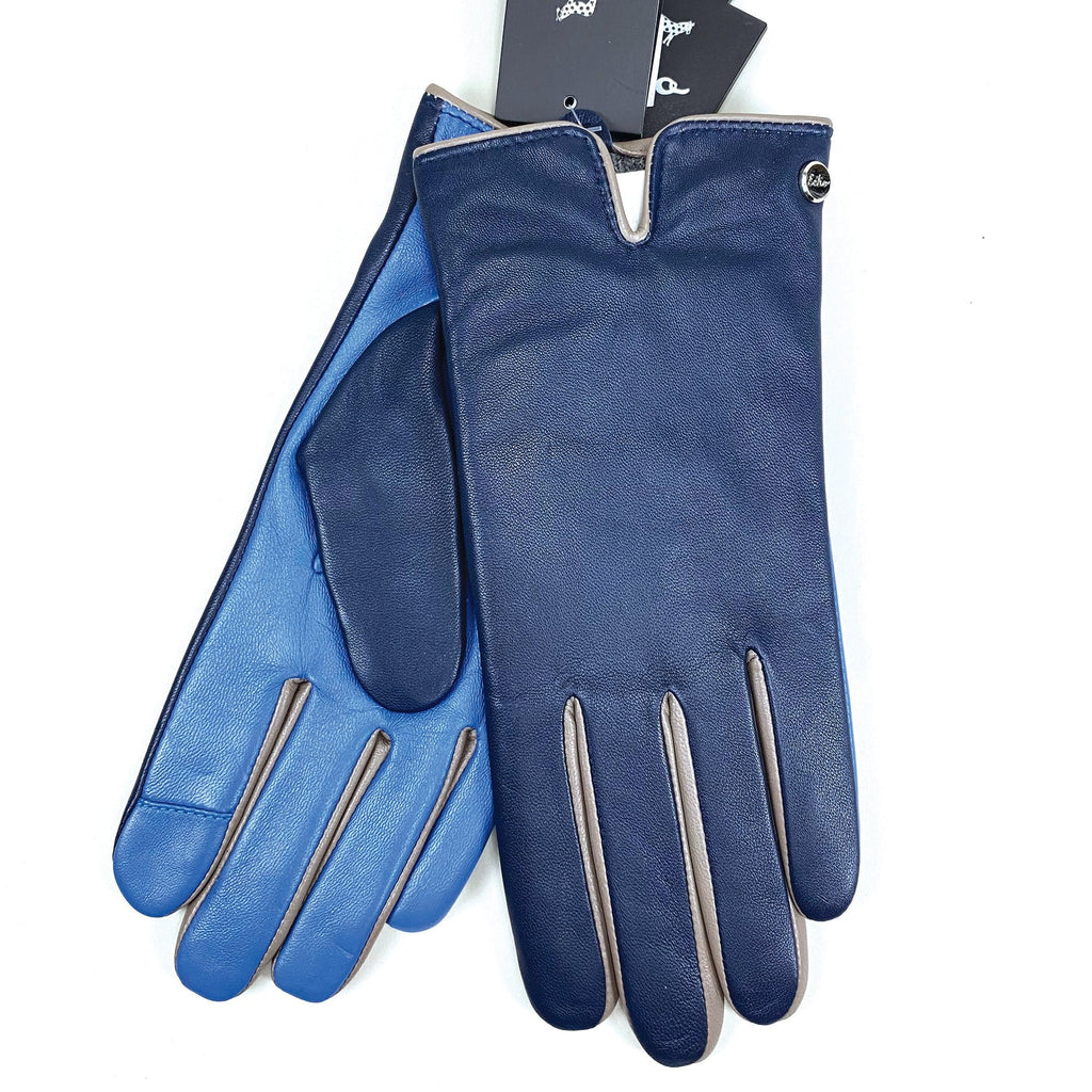 Echo Design Contrast Color Navy Leather Gloves (EGO189) | Simons Shoes