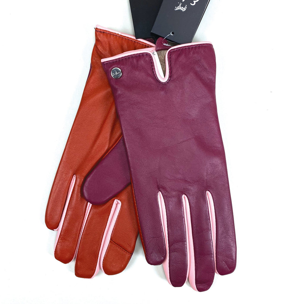 Echo Design Contrast Color Mauve Leather Gloves (EGO189) | Simons Shoes