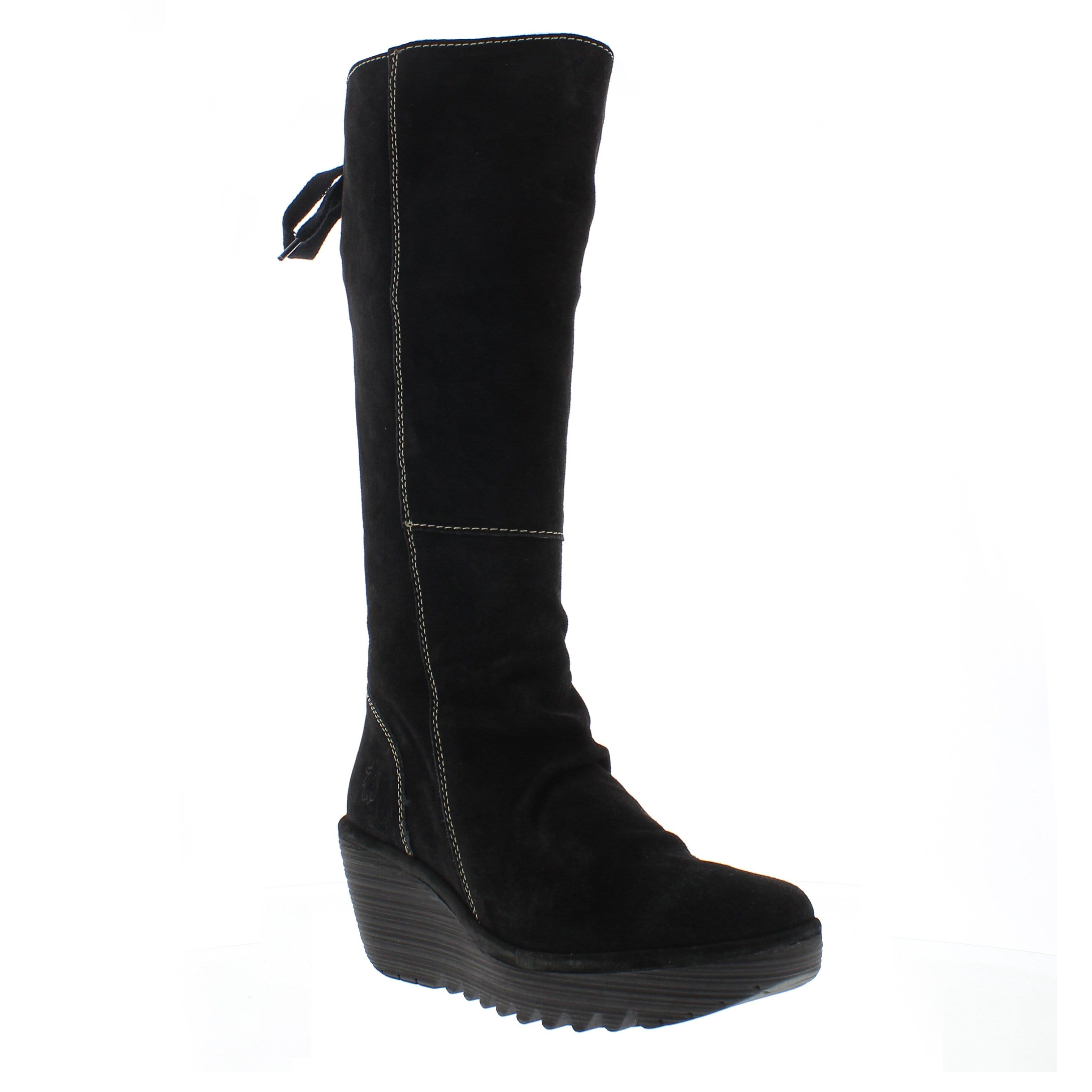 07c3833f7be7 FLY London Yust Women s Tall Lace Back Relaxed Leather Wedge Boot Shoe