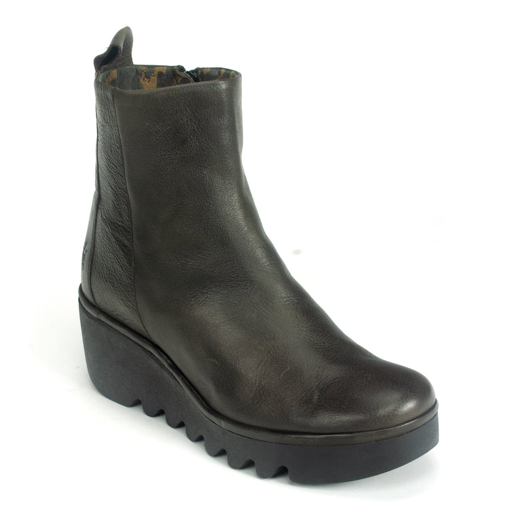 Fly London Womens Short Wedge Leather Boot (BALE250) Brown | Simons Shoes