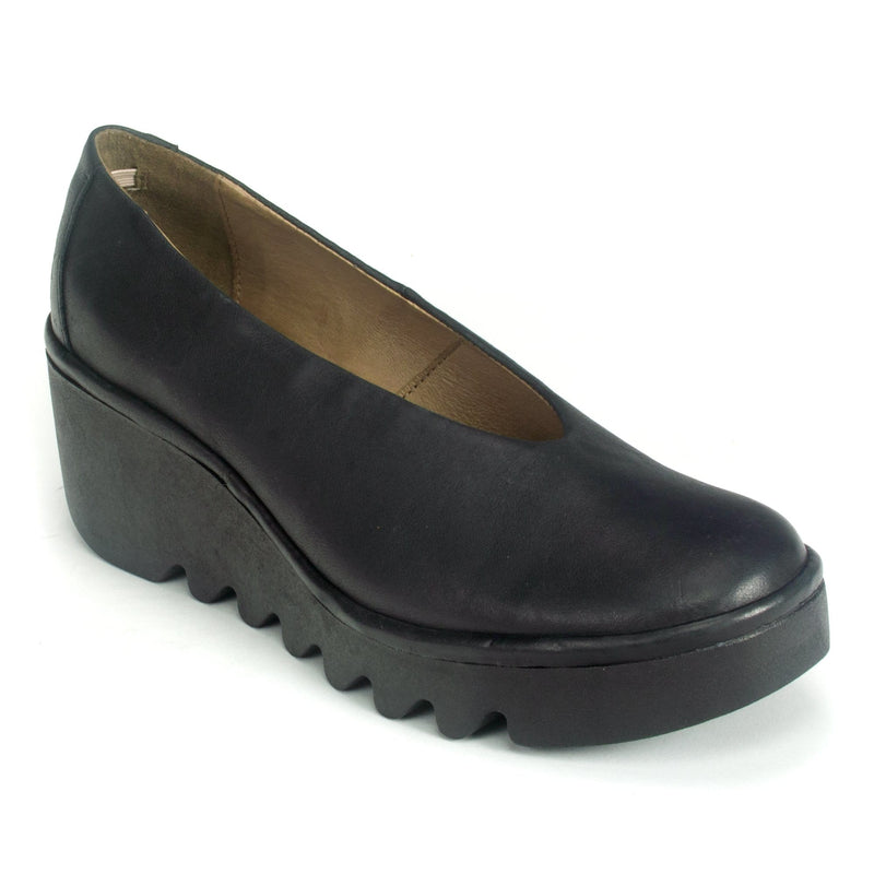 Fly London Womens Wedge Heel Leather Slip On (BESO246) Black | Simons Shoes