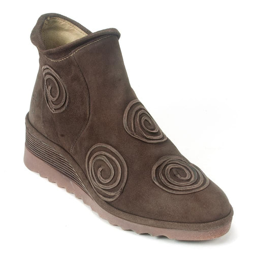 Fly London Women's Cuba Swirl Leather Wedge Ankle Bootie (CUBA086)