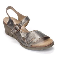Fly London Women's Iexi 452 Leather Slingback Wedge Sandal Shoe